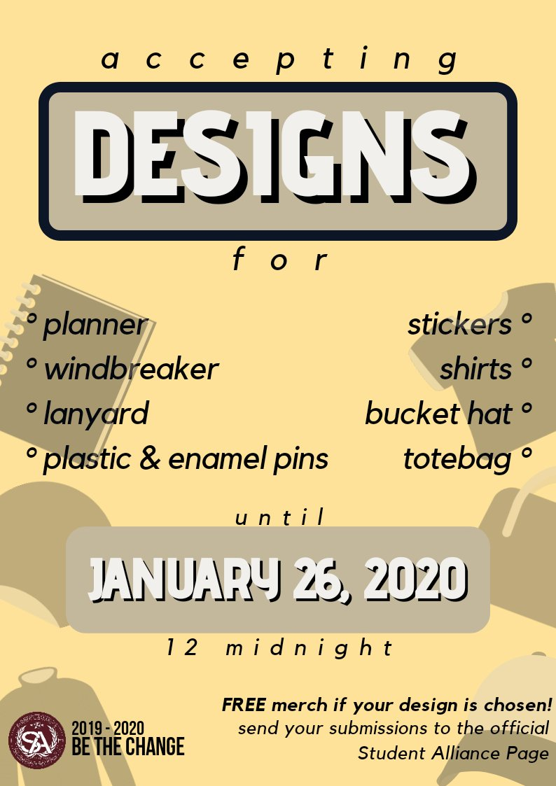 Pisay! The SA needs your creative minds to help in formulating designs for this SY's merchandise! The designs should be related to Pisay, sciences, or the environment. Send your very own design/s to us and get a chance to avail your own designed merch for free!  Be the Change<br>http://pic.twitter.com/zbWJY3egfH