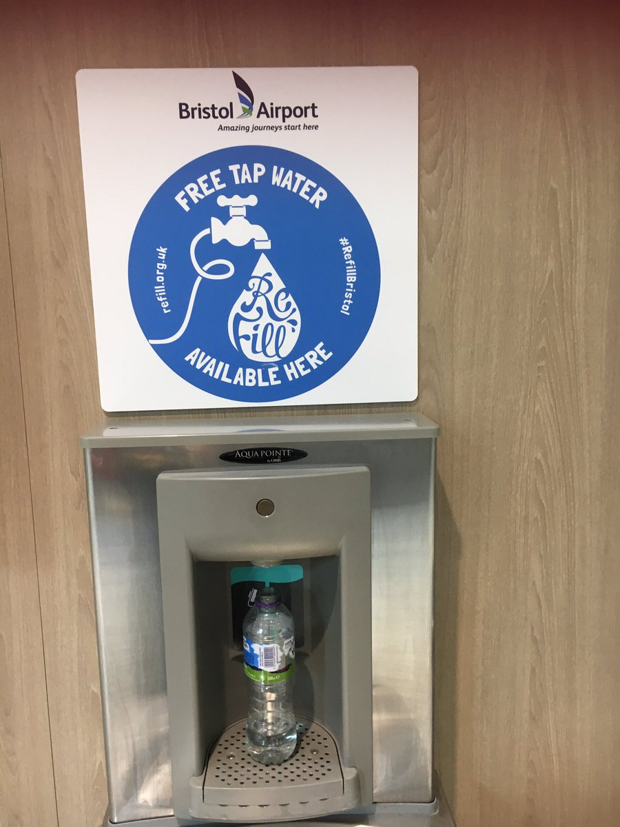 Bristol airport. Great idea for recycling. Just bring your empty bottle through security then refill it for free. Help the environment #reduceplasticwaste pic.twitter.com/sreLYMCcZY