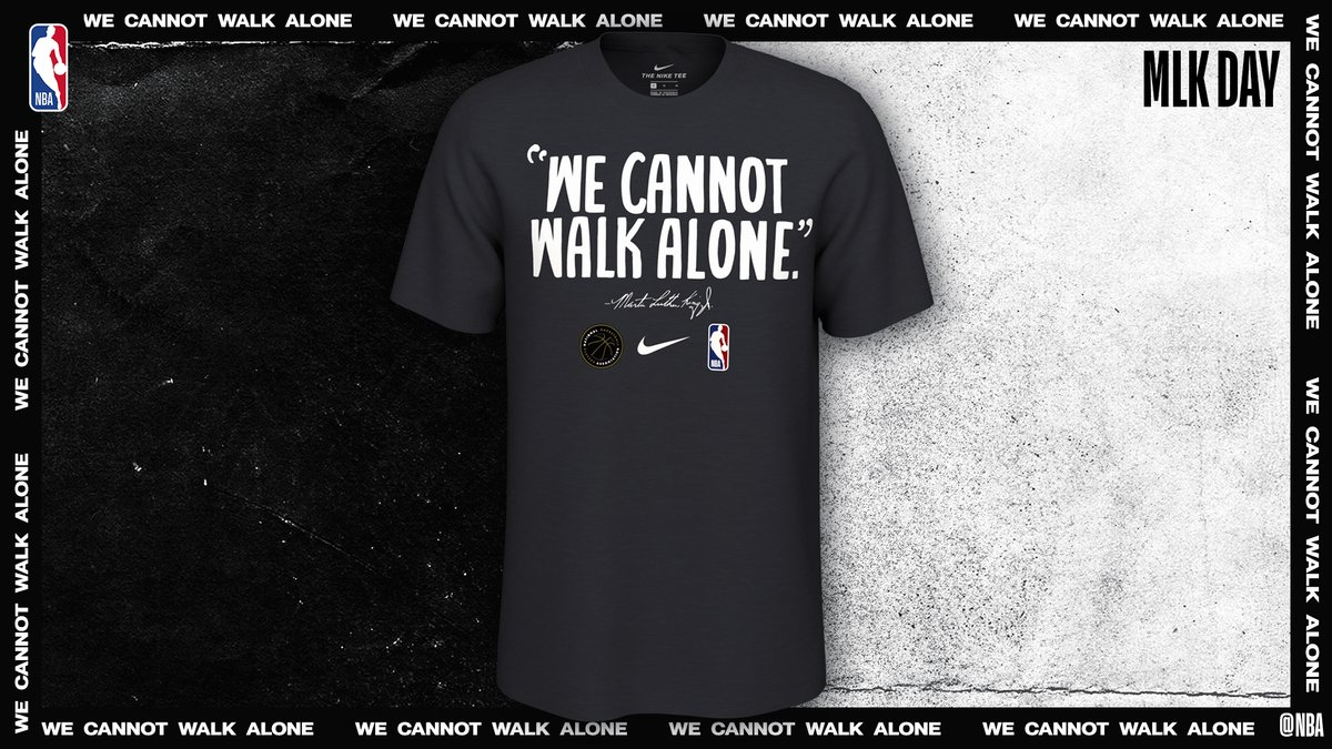 NBA teams will wear custom Nike #MLKDay warmup shirts designed in collaboration with the NBPA, MLK Foundation and Martin Luther King III.   Available for sale at @NBASTORE, all NBA proceeds will go to the @NCRMuseum in Memphis, TN. ➡️ https://on.nba.com/2ufPqh9