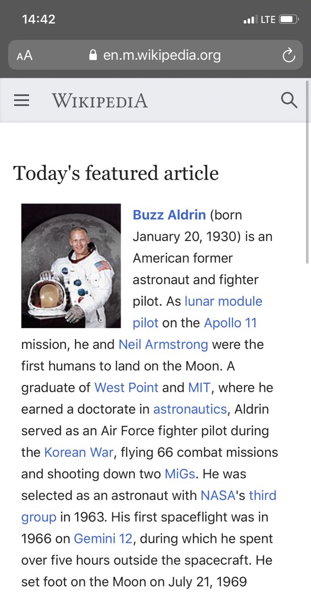 Today's featured article on @Wikipedia: Buzz Aldrin.  https:// w.wiki/FqB      Happy birthday, @TheRealBuzz! #Apollo50th #Buzz90th<br>http://pic.twitter.com/lvF0kH4i6n