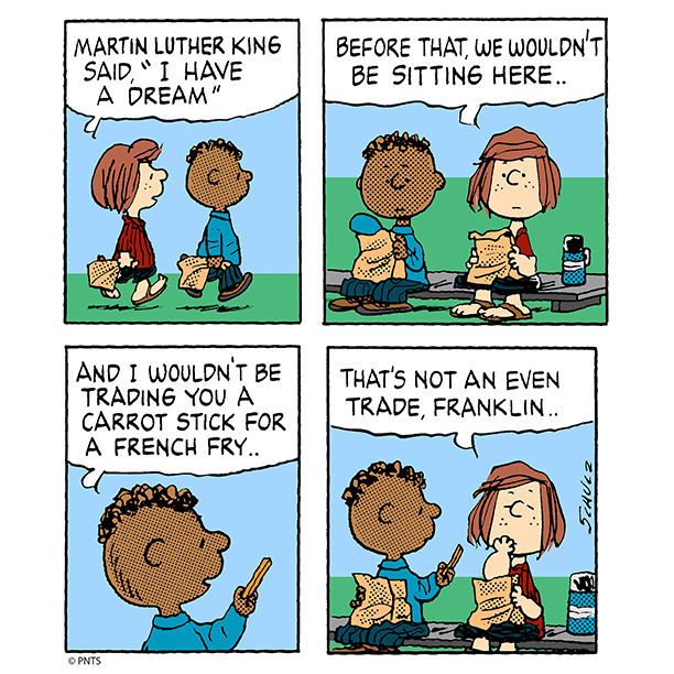 Honoring Martin Luther King with Franklin and Peppermint Patty.
