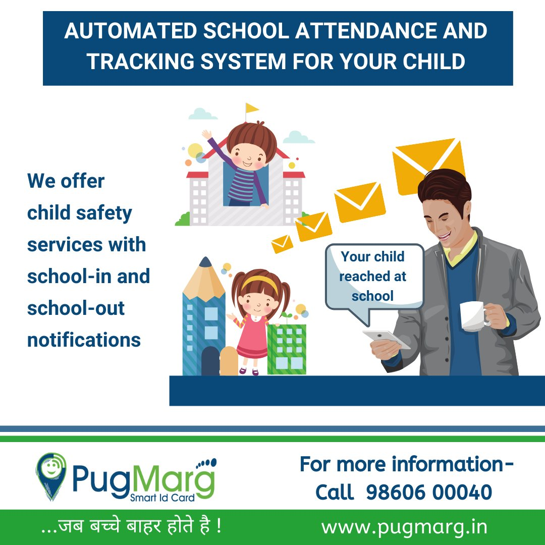 No more worrying about your child's security! Know the status of your loved ones at your fingertips. Get the automatic alert as soon as your child enters the school. For more info, call on 9860-60-0040 #child #childsafety #safety #school #children #PugMarg #Nagpur #smartdevice pic.twitter.com/HZexRkiZmX