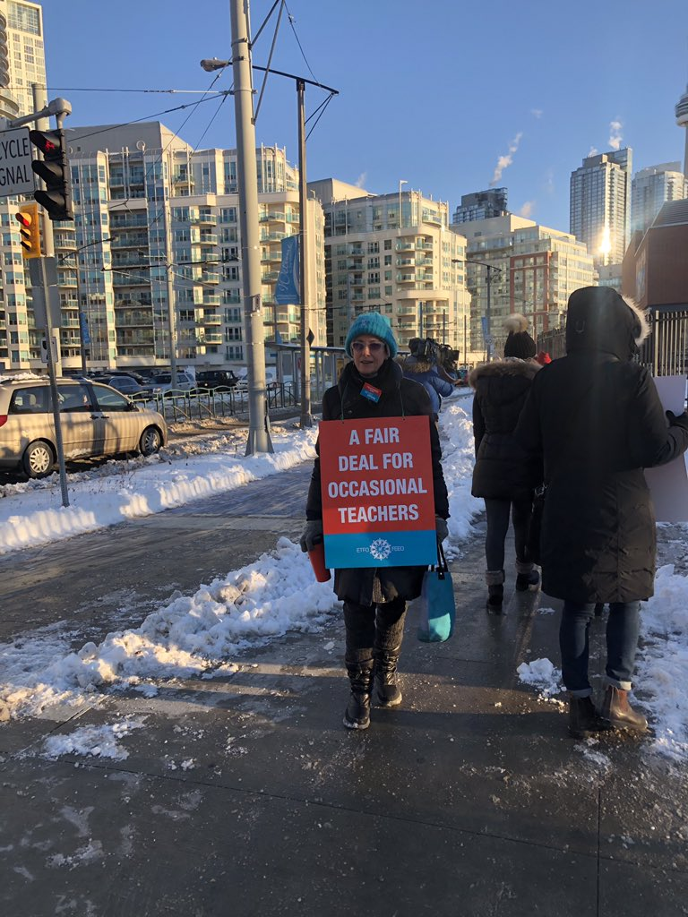 OT Heather at Waterfront School shows solidarity in the #ETFOstrike.