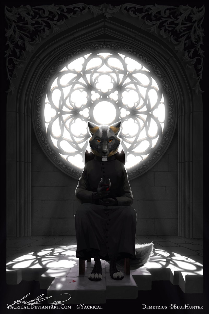 """""""Contrition""""  Who doesn't like a cool gothic aesthetic?  #artistsontwitter #art #furry #anthro #furryart<br>http://pic.twitter.com/4JZQ7FVdFv"""