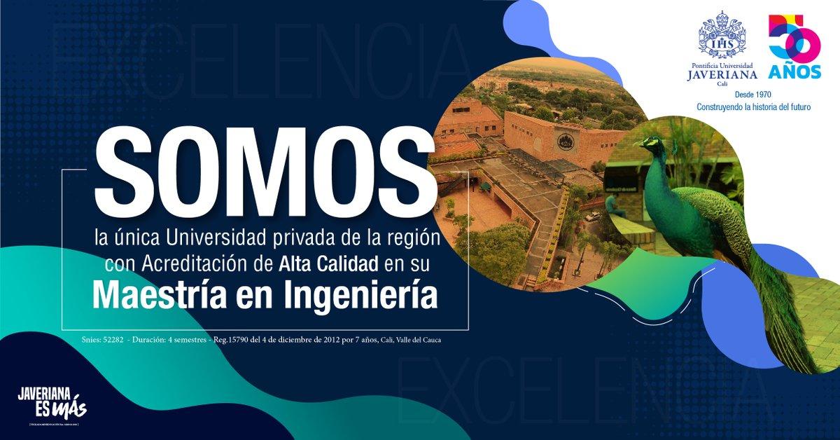 Entre las universidades privadas de la región, somos la única que cuenta con una maestría en ingeniería acreditada en alta calidad. 💛💙 #JaverianaCaliEsMás #LosMejoresParaElMundo