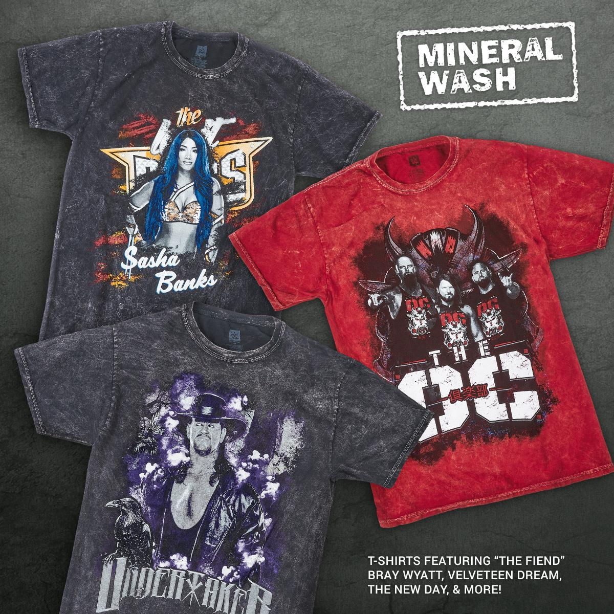 This collection features a rustic, allover #mineralwash that gives an edgy denim look to our Superstar t-shirts. No two garments are exactly alike so enjoy each for its own uniqueness! Featuring #TheOC, #SashaBanks, #Undertaker & more! #WWE #WWEShop