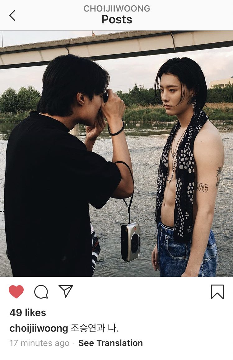 """Choi Jiwoong uploaded an old pic of seungyoun on his insta and wrote """"Cho Seungyoun and me""""   That was for Dazed Magazine but Choi Jiwoong is an editor of Allure Korea magazine now  why did he suddenly upload it? <br>http://pic.twitter.com/AdjcHdv90n"""