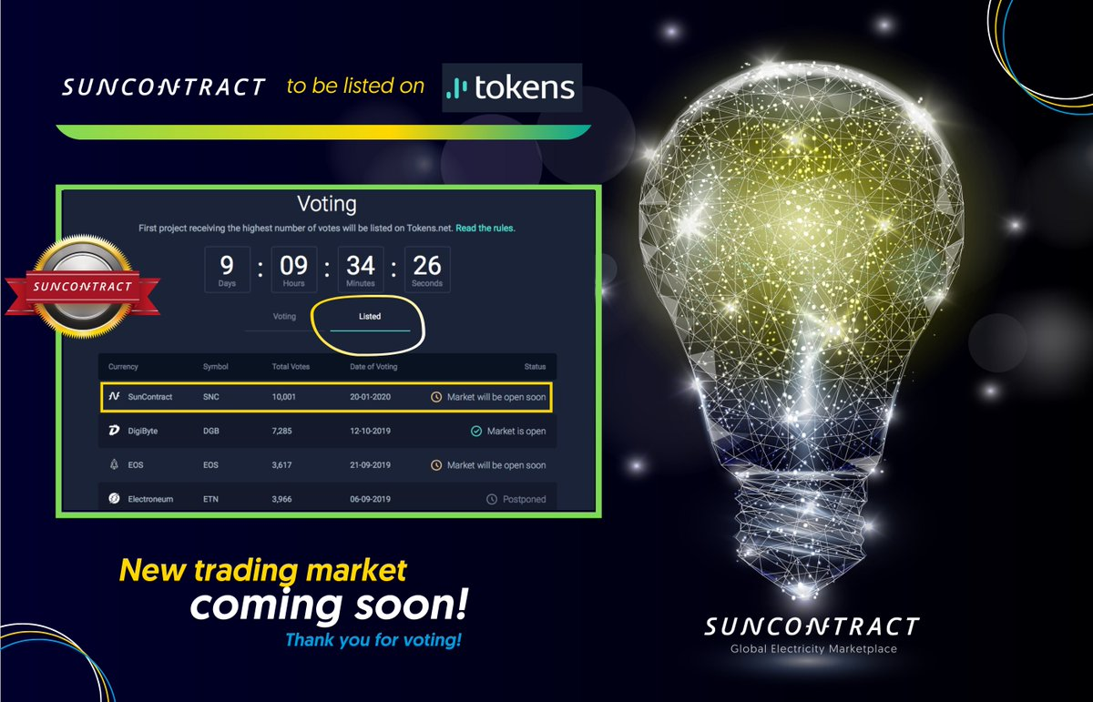After some time https://t.co/EM4PsFsqLd voting was active again.   Expect Suncontract $SNC to be listed soon.  $DTRV #ERC20 #ethereum #voting