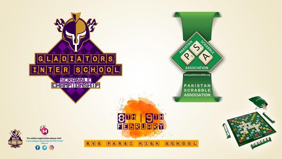 ". @TeamQuetta in partnership with @pakscrabble presents ""Gladiators 21st Inter School Scrabble Championship""   🗓 Feb 8️⃣ & 9️⃣  📍 BVS Parsi School, Karachi  📲 Register online at https://t.co/mZo5rTPv5y  #PurpleForce #ShaanePakistan https://t.co/6gyj9swl1P"