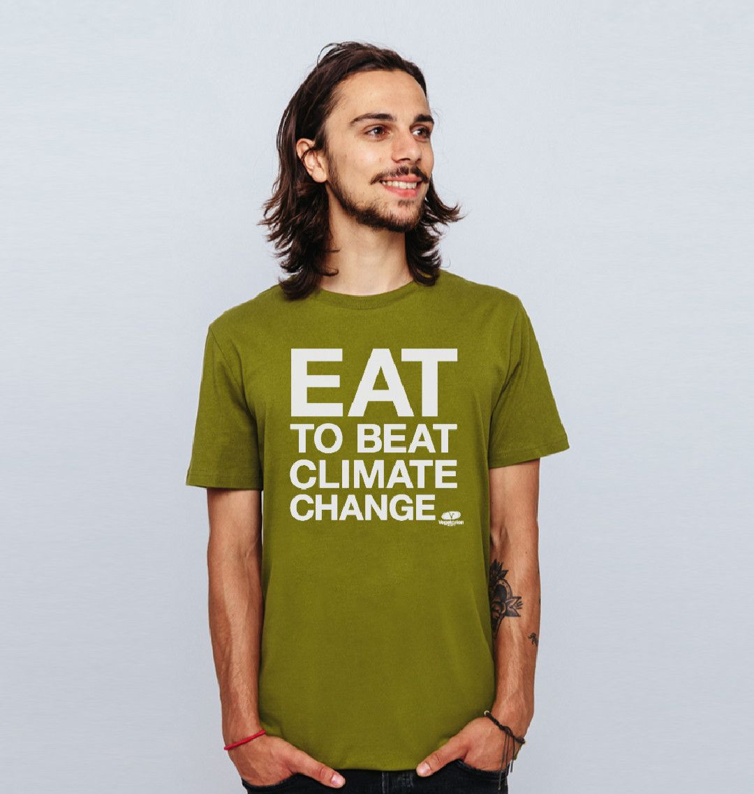 Our #EatToBeatClimateChange t-shirts raise awareness about how eating vegetarian food is good for the planet. Help us create a more sustainable future: