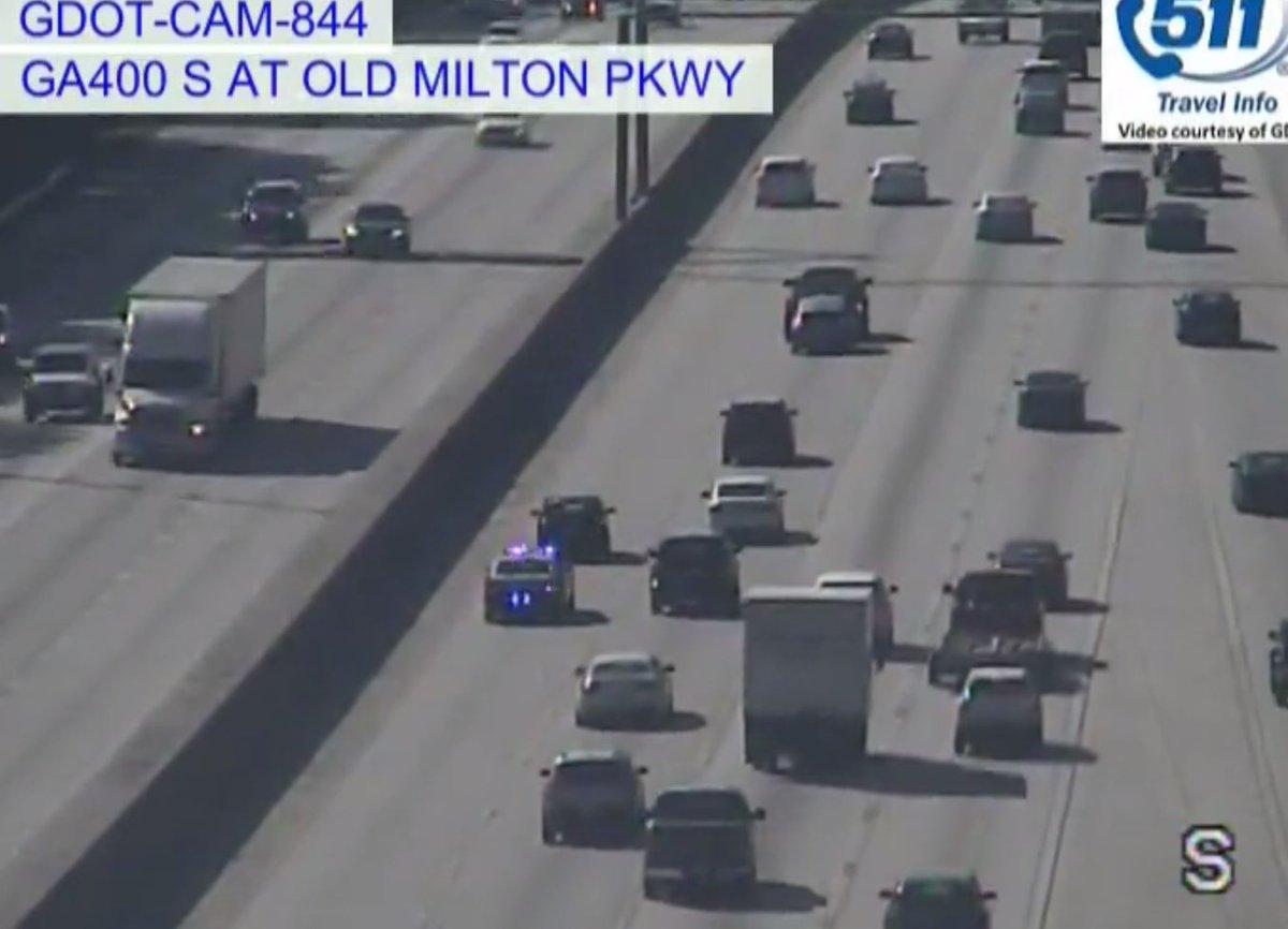 Alpharetta: Stalled Vehicle on GA-400/sb at Old Milton Pkwy has @AlpharettaDPS on scene in the left lane expect delays into Roswell  https://www. wsbradio.com/traffic     #ATLTraffic<br>http://pic.twitter.com/8ohA4Hyh2c