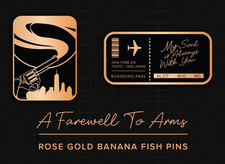 Hello fellow #BANANAFISH -ers. I wanted to create some pins for Valentine's Day but this happened instead and who doesn't like being sad all over again?   Preorders will run from Jan 20-Feb 20! First 20 orders will recieve a free Eiji postcard!  ↳  https:// maisbuns.bigcartel.com/product/a-fare well-to-arms-banana-fish-pins-preorders   …  <br>http://pic.twitter.com/SGscLJdowB