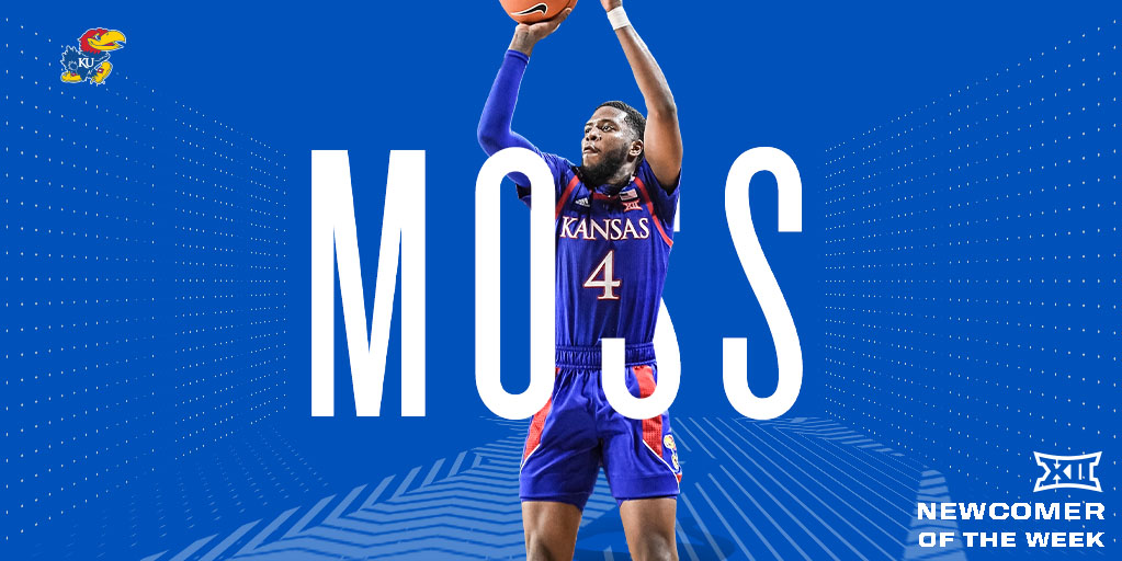 In his first start while at Kansas, Moss scored 2⃣0⃣ points, including a career-high tying 6⃣ three pointers in @KUHoops' road victory at Oklahoma. It was Moss' second 20-point effort of the season.Isaiah Moss (@imoss38) is the #Big12MBB Newcomer of the Week.