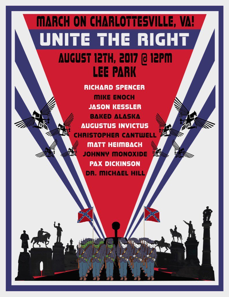 The media treating today's VA gun rally like Charlottesville is manifestly irresponsible. Charlottesville was ADVERTISED as a white supremacist march. This was the flier. Nobody was hiding the ball.