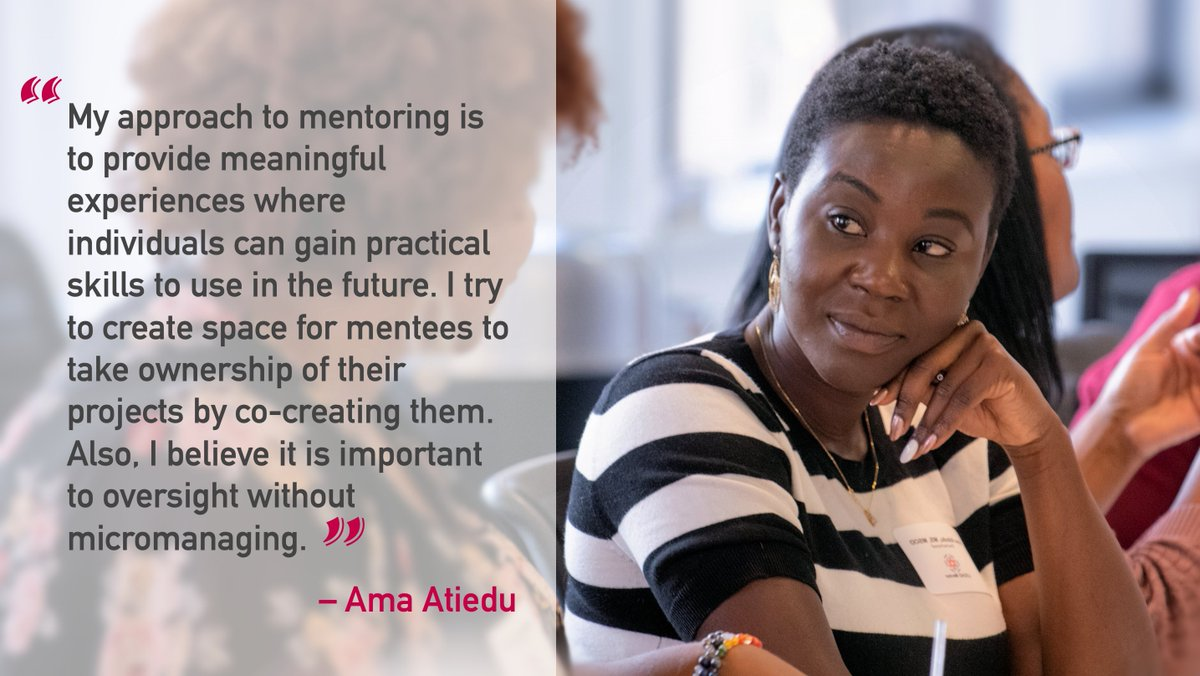 """#LEEAD mentor, Ama Atiedu, shares her thoughts for #MentorMonday: """"My approach to mentoring is to provide meaningful experiences where individuals can gain practical skills to use in the future.""""  What is your #1 #mentoring tip?pic.twitter.com/a7Rl5Wpt3M"""