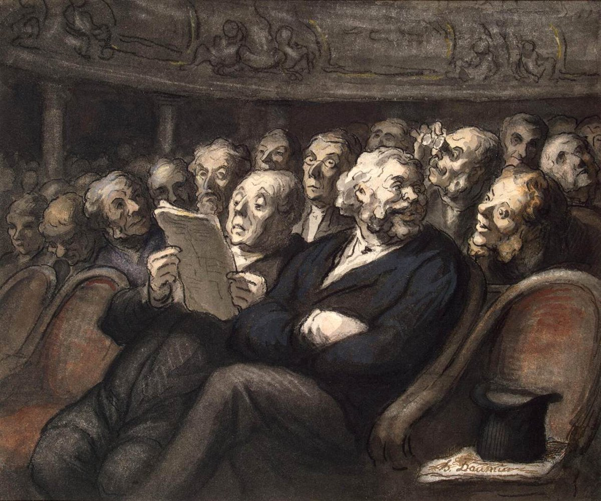Honoré Daumier was a French printmaker, caricaturist, #painter, and #sculptor.  #Daumier produced more than 500 paintings, 4000 lithographs, 1000 wood engravings, 1000 drawings and 100 sculptures in his lifetime.   Image: Intermission at the Comédie Française, 1858pic.twitter.com/ggh33YUAzc