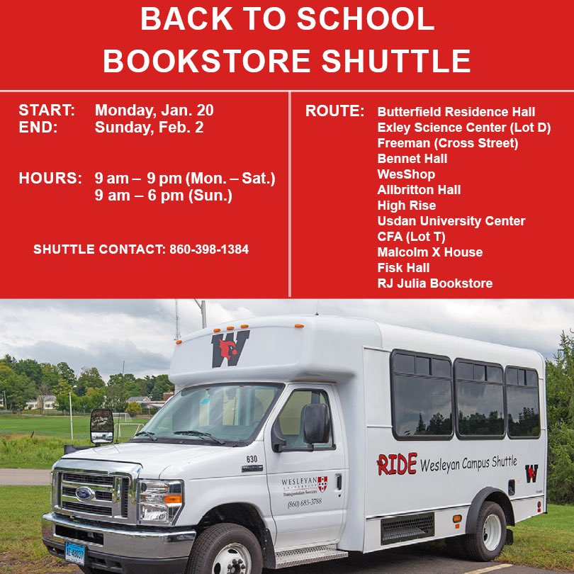 test Twitter Media - Need a ride to @wesrjjulia? Catch the shuttle now - Sun., Feb. 2, 9a-9p M-Sat., 9a-6p Sun.   Route: Butterfields Exley (Lot D) Freeman (Cross Street) Bennet WesShop Allbritton High Rise Usdan CFA (Lot T) Malcolm X House Fisk WRJJ  Contact: 860-398-1384 ⬇️ https://t.co/0acaV91mbs