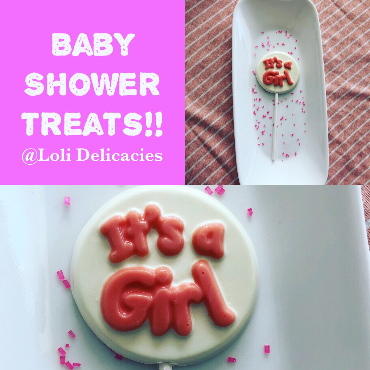 Baby shower treats for girls! Other color combinations available if pink isn't your thing! @lolidelicacies @LDelicacies #itsagirl #itsagirl#babyshower #babyshowerdecorations #babyshowerideas #pink #waxhawncpic.twitter.com/wnsSahstBu