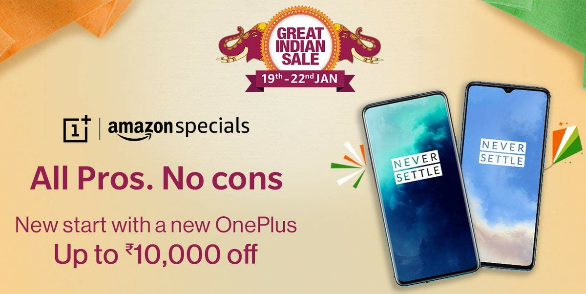 HOT DEALS  Get upto ₹10000 off on Pro models  All Pros and No Cons  @OnePlus_IN @AmazonIN_Deals @PeteLau @getpeid @MKBHD #OnePlus7Pro #OnePlus7TPro  #AmazonGreatIndianFestival  https://amzn.to/2ujDJ96 pic.twitter.com/lDbKIrsPKf