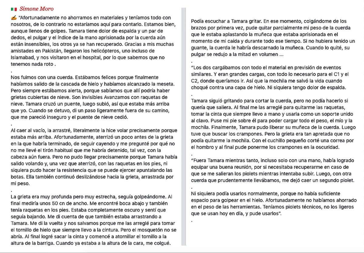🇪🇸 Traducción al castellano de las declaraciones de Simone Moro:  #Karakoram #GilgitBaltistan #Gasherbrum