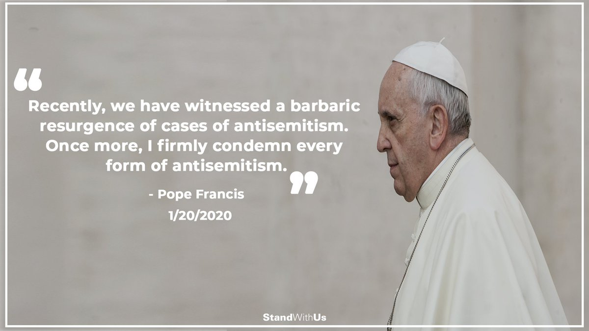Pope Francis condemns the resurgence of antisemitism around the world.<br>http://pic.twitter.com/vMe92PZ2jL