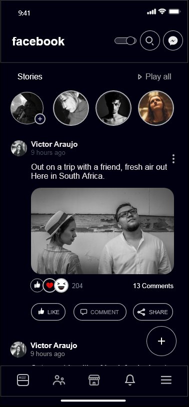 I played around today and did a dark mode of the FACEBOOK APP USING #adobeXD app Kindly retweet if this comes across your timeline  This is my UI/UX part Credits to James Moses for the initial wireframe. I modified the wireframe for this pic.twitter.com/nAKe5SN5rO
