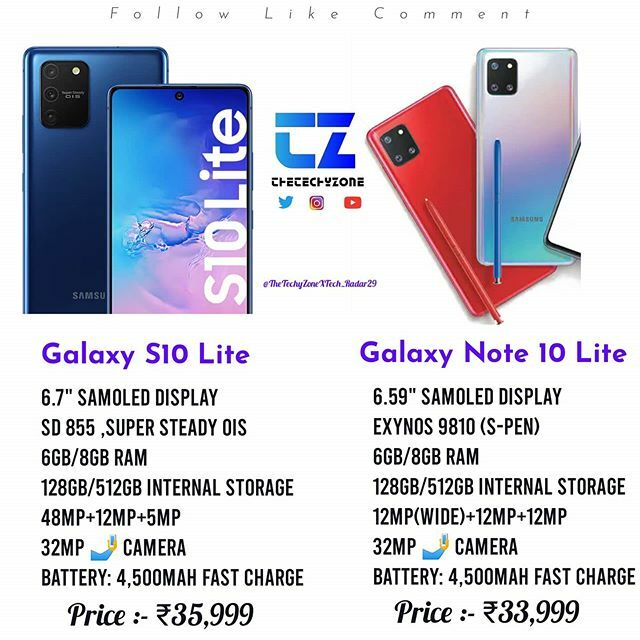 Samsung [Galaxy S10 Lite VS Galaxy Note 10 Lite] . . . Follow And Support Us @TheTechyZone . . . . . . . .  #Samsung #GalaxyS10Lite #GalaxyS10Series #SamsungGalaxyS10Lite #Arriving #India #GalaxyNote10Lite #mobileguru #GalaxyNote10 #RedmiK30 #MiNote10 #G… https://ift.tt/2RAUGUt pic.twitter.com/0v9N2s8Q9y