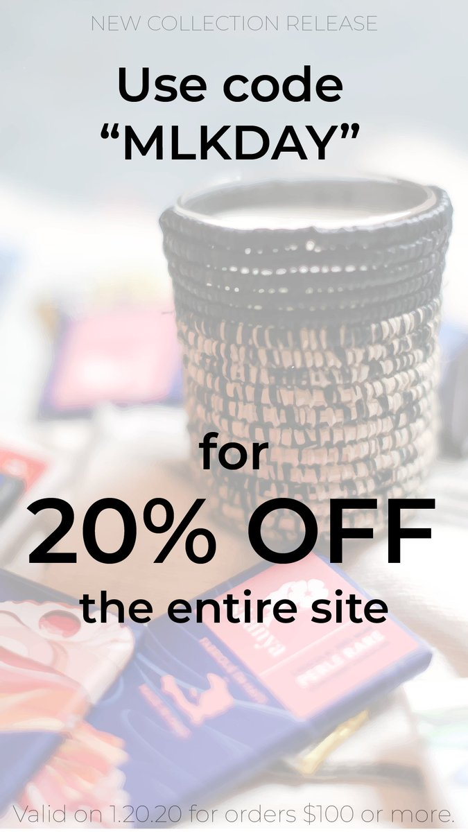 In honor of MLK Day, we are having a 20% off the entire site sale! Shop contemporary African design and accessories! #sustainabledesign #ethicaldesign #consciousconsumer #handmade #africadesign #designgoals #kenya #decor #africandecor #handmadejewelry https://soo.nr/pvh2 pic.twitter.com/UB2ETTFVvV