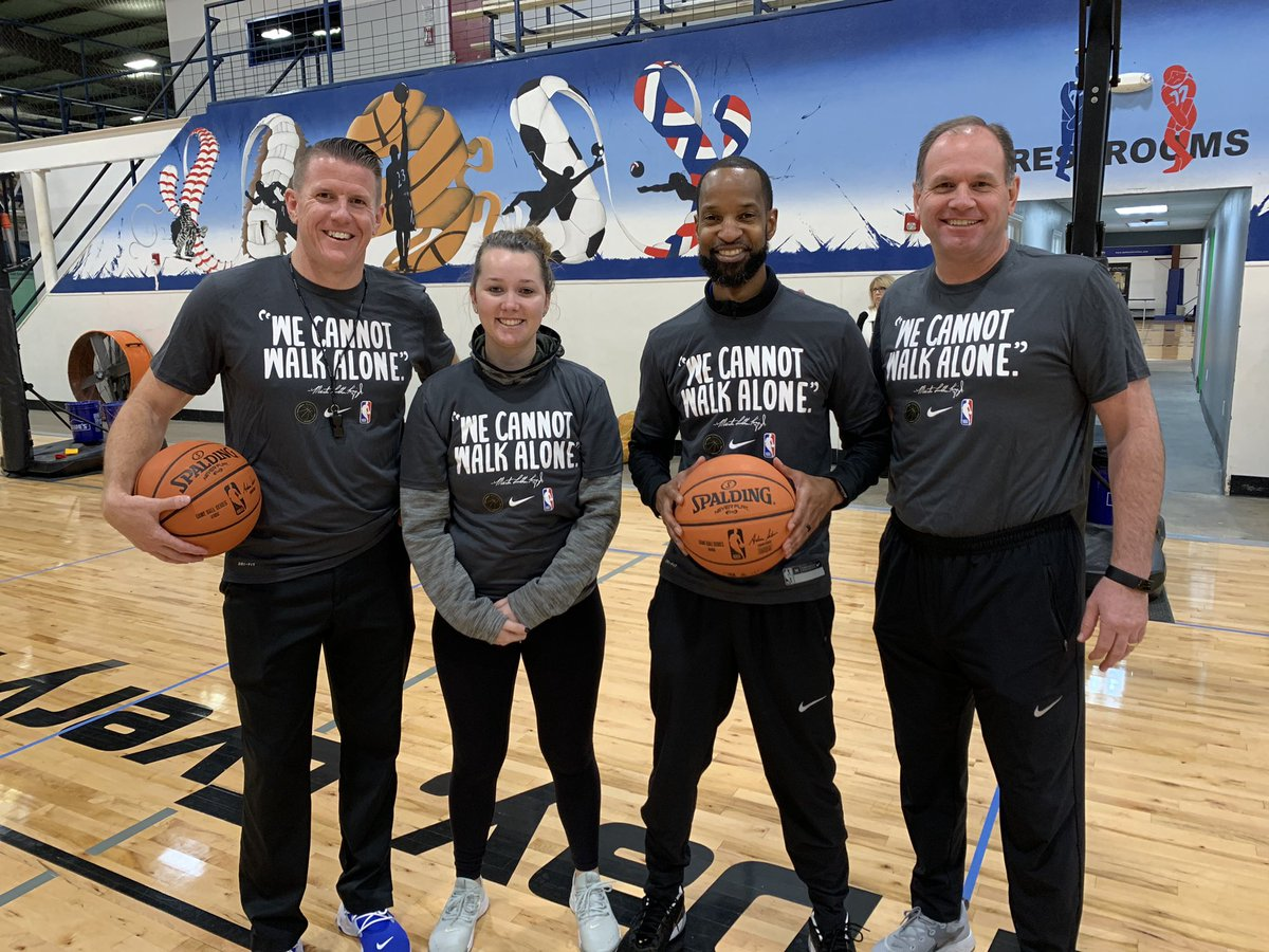 The @dallasmavs are celebrating the life and legacy of Dr. King today with youth from all over the Metroplex.   We have 140 student-athletes at our @MavsAcad One Day Camp + NBA champ @matrix31 made a surprise visit! #NBAVoices #MFFL