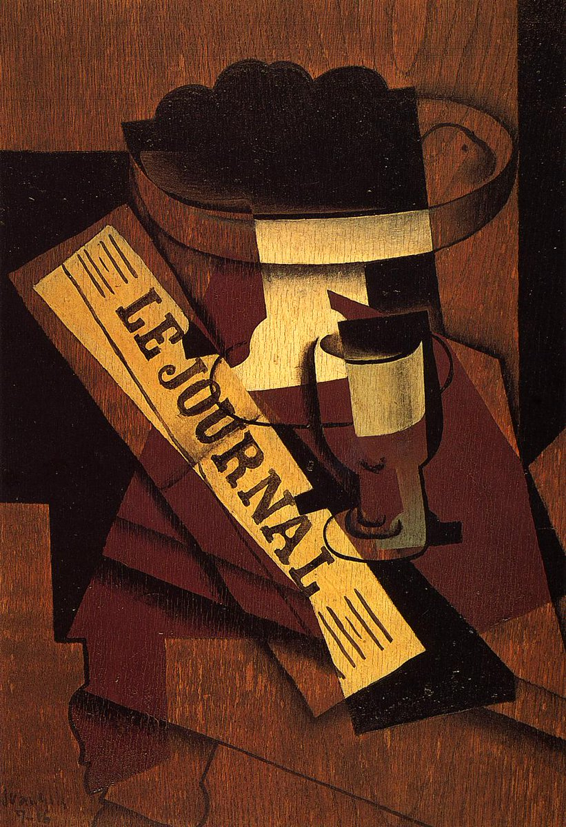 Fruit Dish, Glass and Newspaper, 1916 #juangris #syntheticcubism<br>http://pic.twitter.com/sPW4DTe4wP