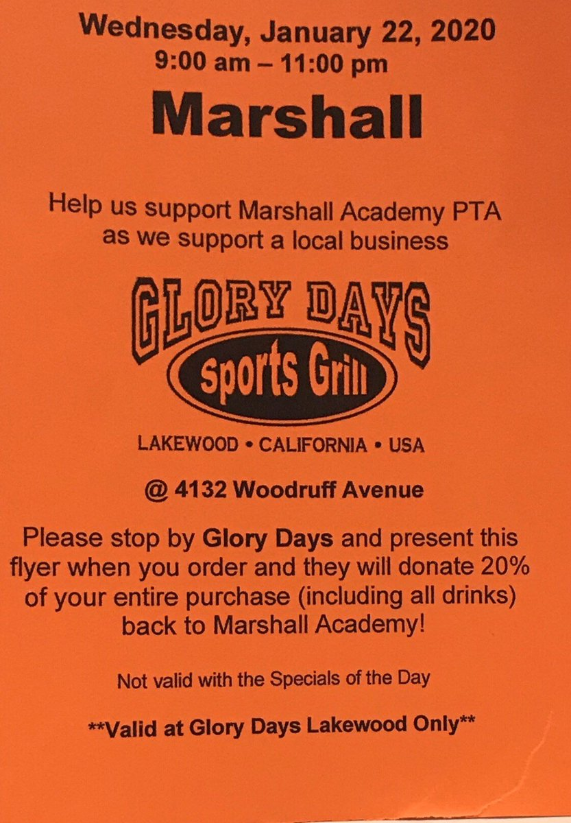 Wednesday Jan 22 9am-11pm is Glory Days (Lakewood) Dinner Night! Paper flyer required. 20% of food & drink purchases (excluding specials of the day) will be donated to Marshall PTA  #PTAFundraiser #proudtobeLBUSD #DinnerNight