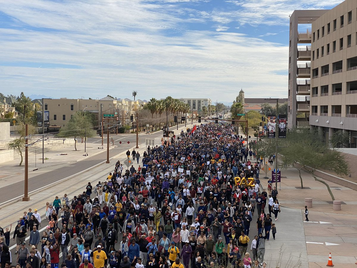 """Our community united today for the annual march to honor the legacy of Dr. Martin Luther King Jr. It was an inspiring call to action to carry on his pursuit of justice and equality for all. """"We must walk on in the days ahead with an audacious faith in the future."""" #MLKDay <br>http://pic.twitter.com/TgJSR2jcFr"""