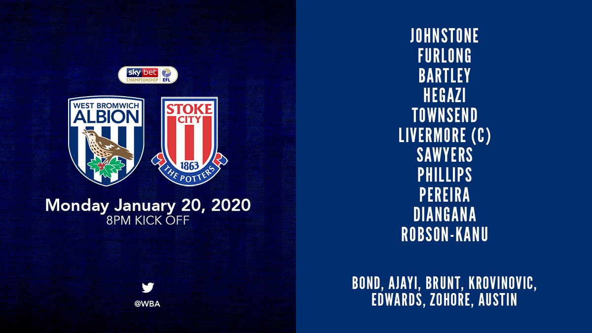 📋 Heres our team to take on @stokecity. Grady Diangana starts for the first time in a month, while Ahmed Hegazi also makes the XI. Come on you Baggies! #WBASTO | #WBA
