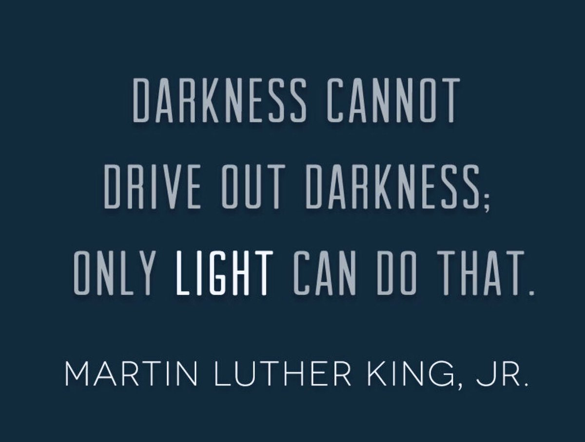 """""""Darkness cannot drive out darkness; only LIGHT can do that."""" Martin Luther King, Jr. #shine #OneWord2020 #JoyfulLeaders <br>http://pic.twitter.com/GHjhmNxV2y"""