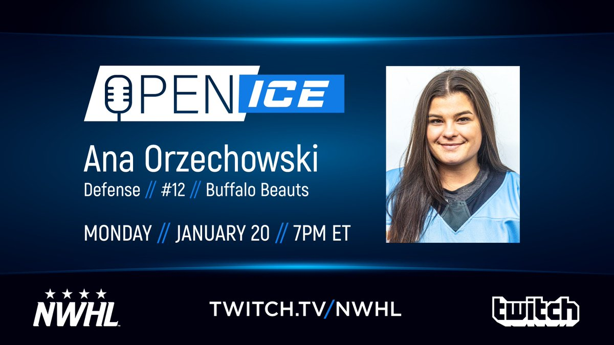Tonight's guest on #NWHLOpenIce with @GamerDoc_ is @BuffaloBeauts defender and @RPI_WHockey alumna @anaorzechowski! The show begins in five minutes, so tune in now on @Twitch! #NWHLonTwitch  : http://twitch.tv/nwhlpic.twitter.com/T6nJgxTJw9