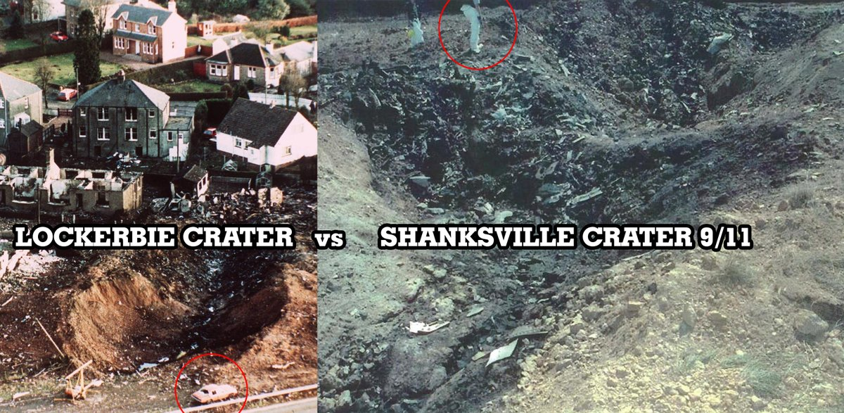 """Lockerbie crater: only part of the wing of a Boeing 747 Shanksville crater: a """"whole fucking Boeing""""Spot the difference. #911 #insidejob"""
