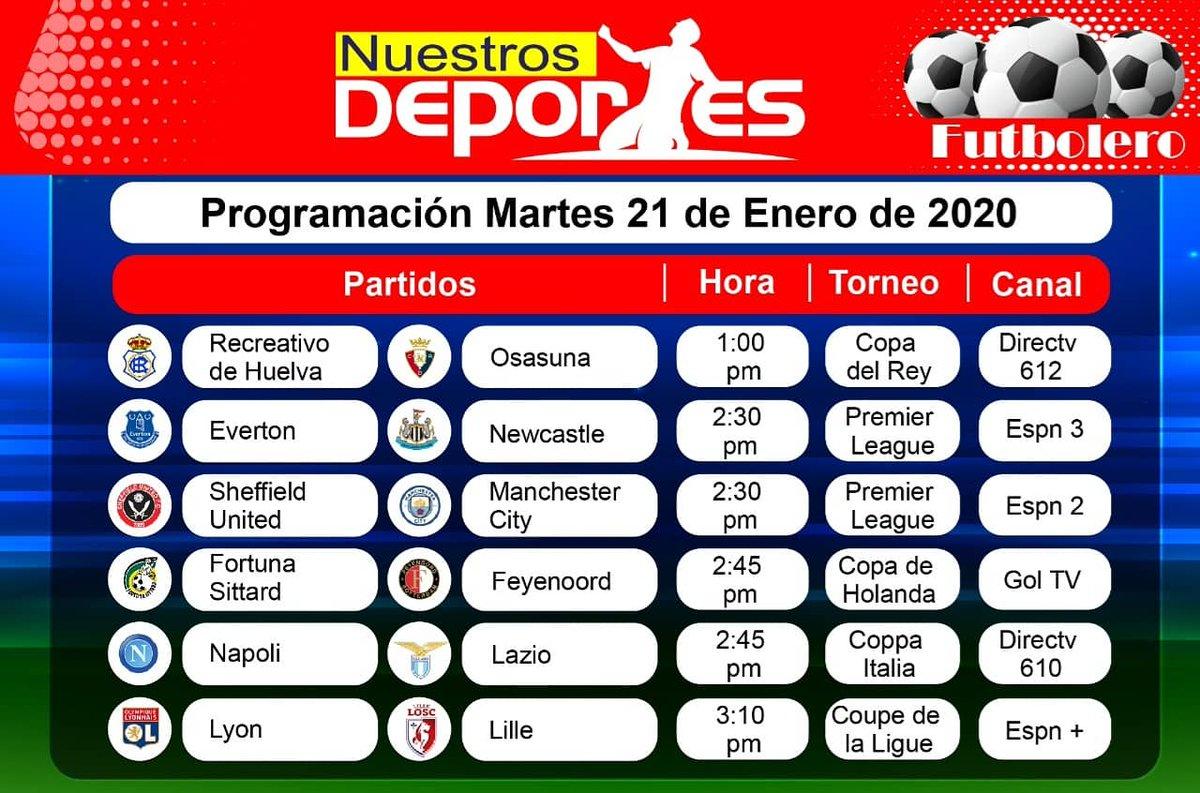 #Futboleros, esta es la programación de los partidos que pueden ver el martes por televisión. #Fútbol #QuéVivaElFútbol #Colombia #PremierLeague #CopaDelRey #CoppaItalia #CopaLibertadores #PreolimpicoColombia2020  #SelecciónColombia #VamosColombia #MartesDeFútbol #AgendaTV #EnVivo