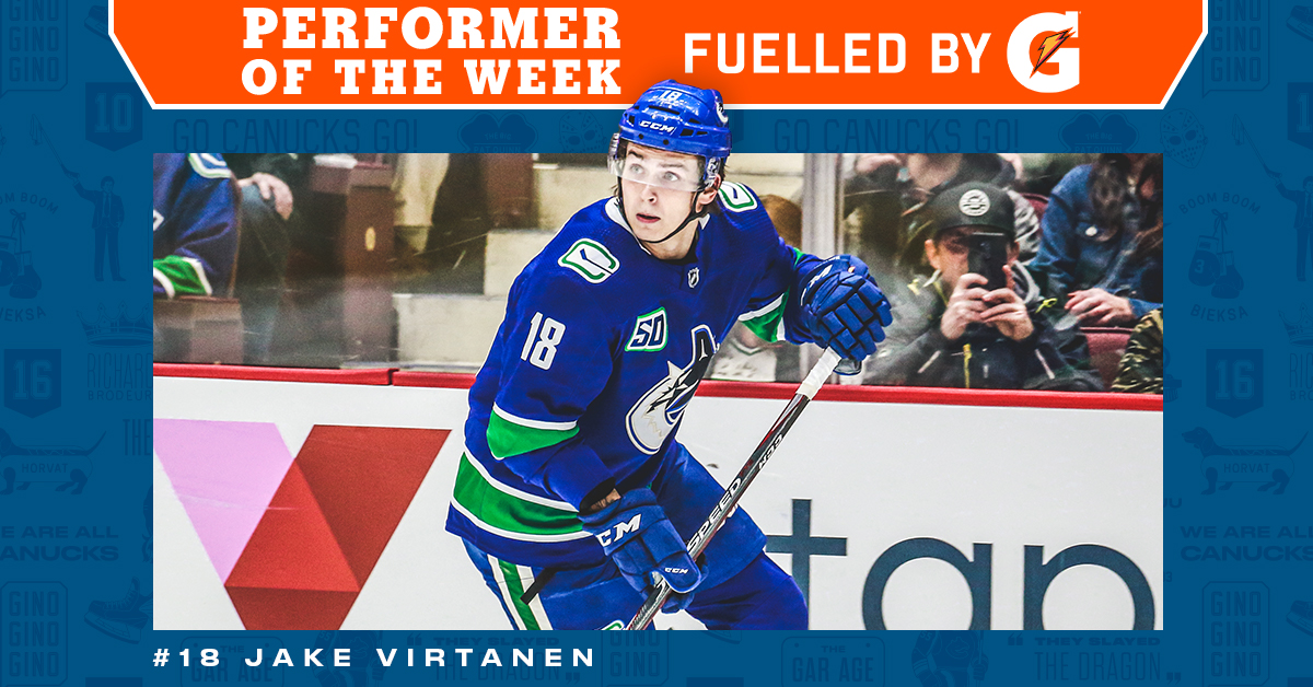 Jake Virtanen is this week's @GatoradeCanada #Canucks Performer of the Week with 1 goal and 2 assists! 🏒 #FuelledByG