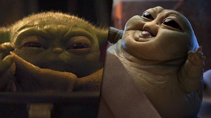 The duel of the century...  #BabyYodaProblems or #BabyJabba ?!  : Baby Yoda : Baby Jabba    GO <br>http://pic.twitter.com/WgFYaOwmXC