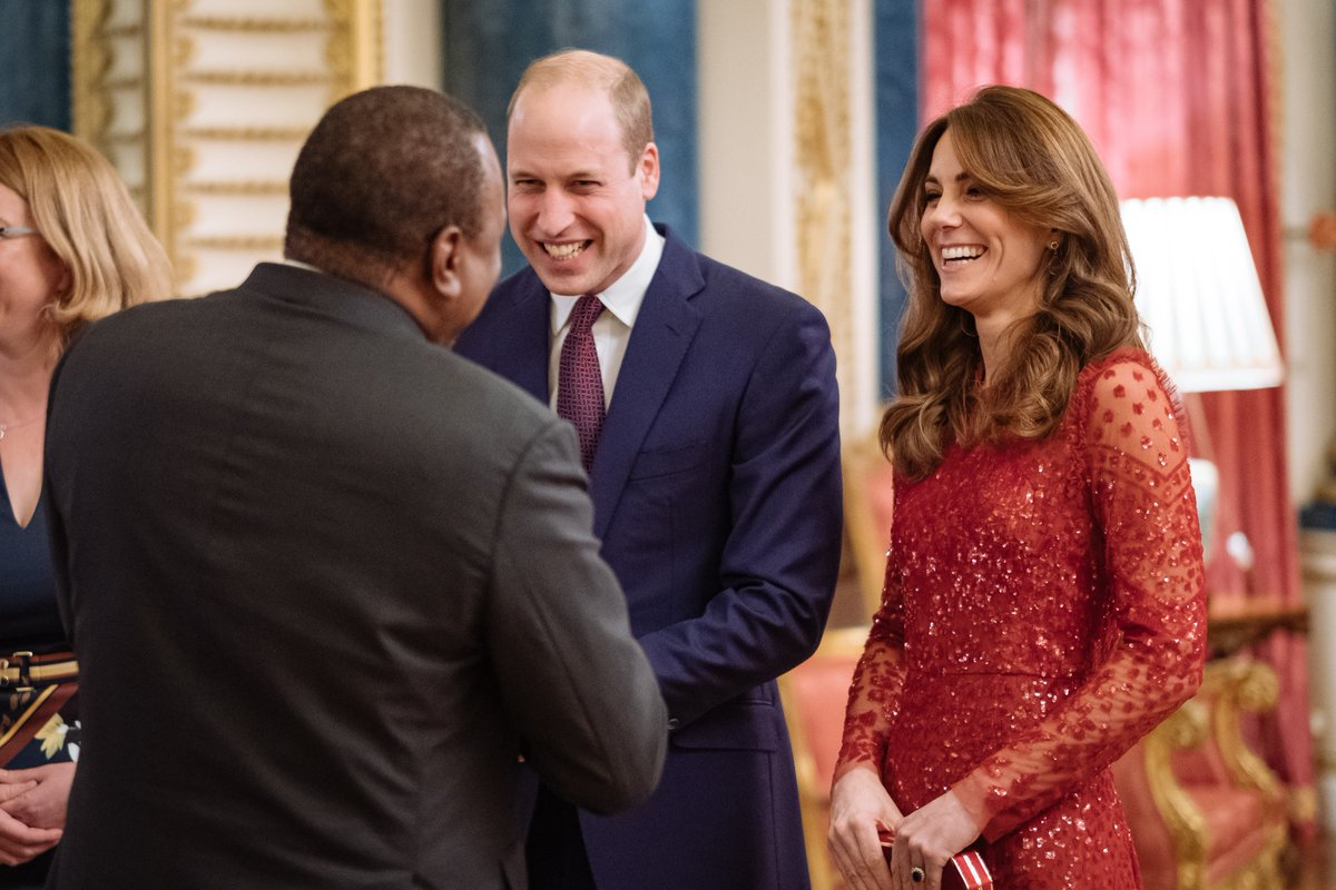 Kate Middleton dazzles in red dress at Buckingham Palace reception