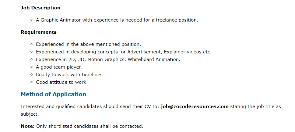 Zocode Limited is in need of a  Freelance Graphics Animator  Job Type: Part Time    Location: Lagos pic.twitter.com/A8VuR9ROfy