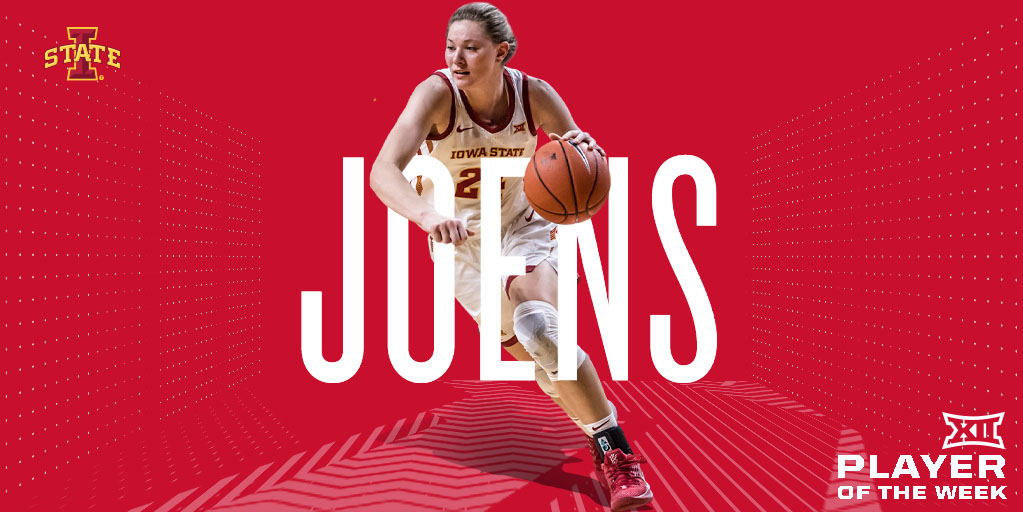Joens dropped 3⃣1⃣ points and hauled in 1⃣5⃣ boards against TCU.  On the road at OSU, she netted 1⃣7⃣ points and 🔟 boards, one of which sealed the win for @CycloneWBB, scoring a basket with 20 seconds remaining.  Ashley Joens (@ashleyjoens) is the #Big12WBB Player of the Week. https://t.co/kt6fZE3vq4