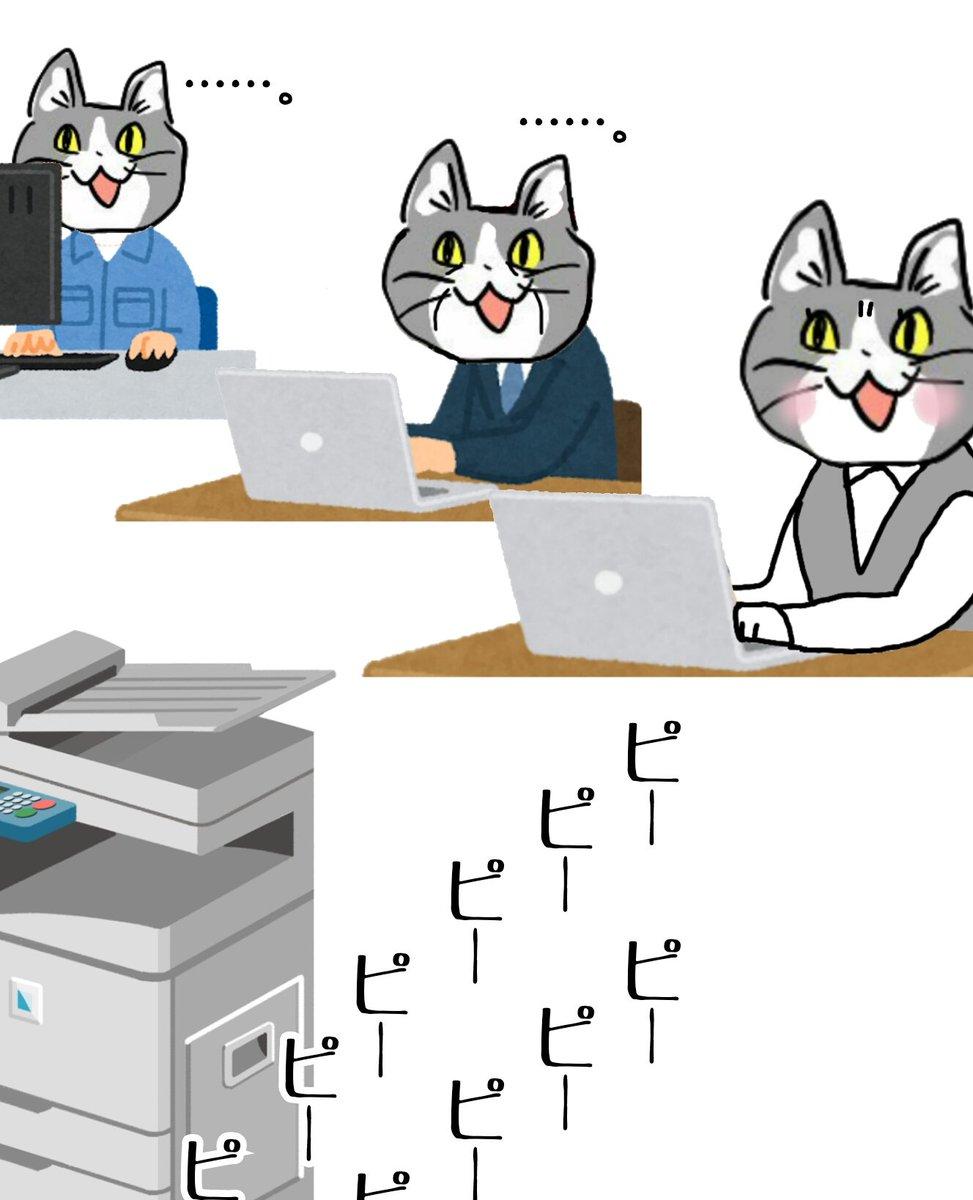 どうしてみんなコピー機の紙切れやトナー切れを無視するんですか? #電話猫 #現場猫