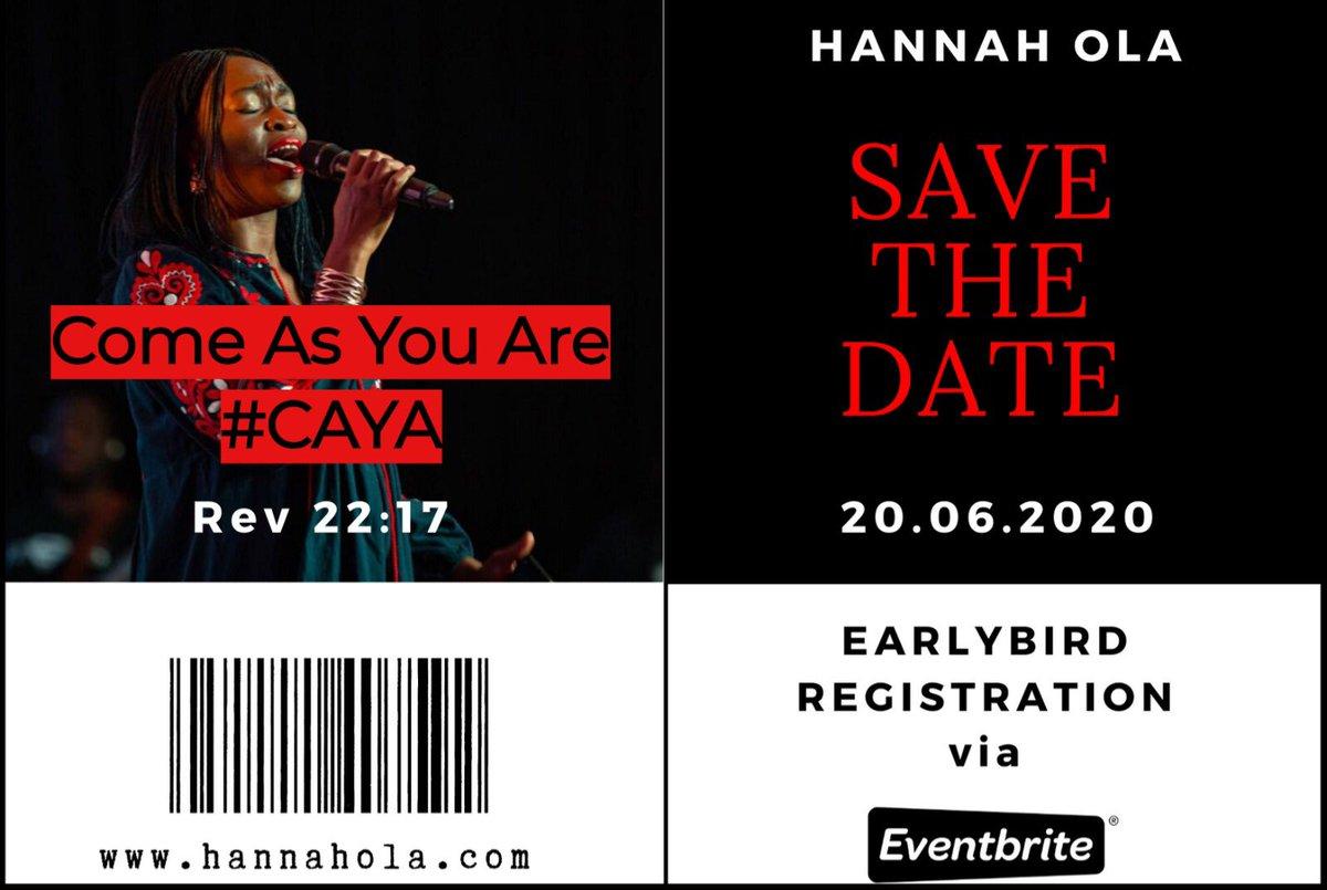 Registration is now open via Eventbrite https://hannaholacaya.eventbrite.com More details to follow  #HannahOla #CAYA #praiseandworship #savethedatepic.twitter.com/CFvGFp9UKr