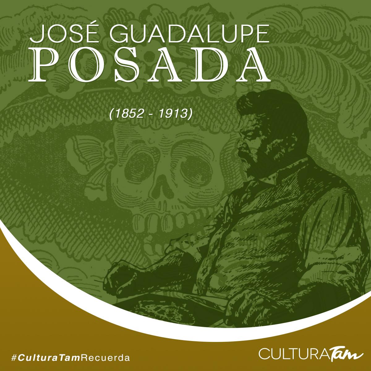 """#CulturaTamRecuerda """"La muerte es democrática, ya que a fin de cuentas, güera morena, rica o pobre, toda la gente acaba siendo calavera"""" José Guadalupe Posada fue un grabador, ilustrador y caricaturista mexicano. Falleció el 20 de enero de 1913."""