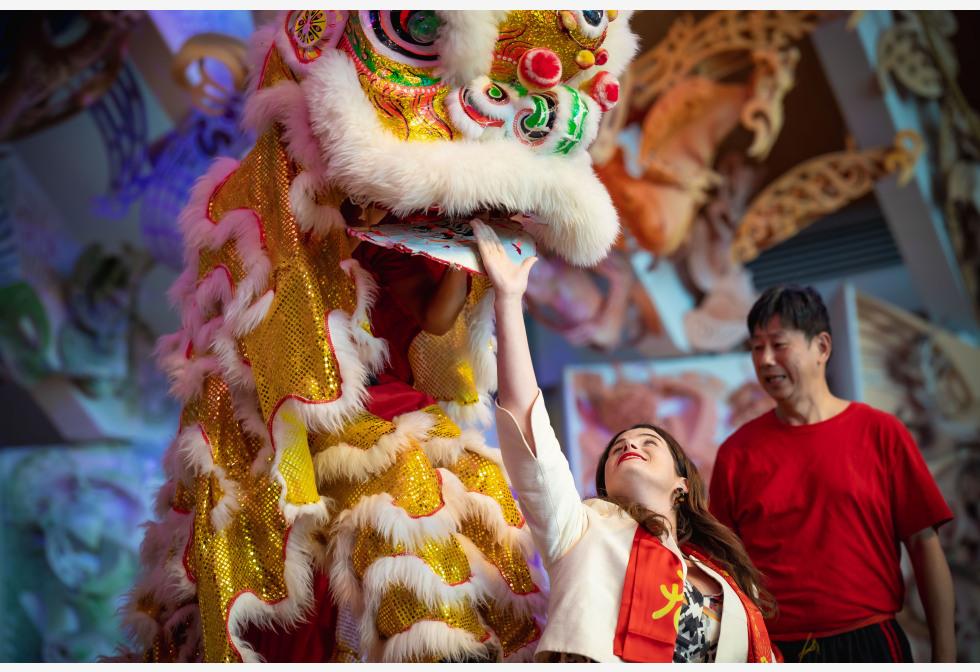न्यूजीलैंड की राजधानी वेलिंगटन में नेशनल म्यूज़ियम ऑफ़ न्यूज़ीलैंड में चीनी नव वर्ष पर्व प्रदर्शन के उपलक्ष्य में बहुसांस्कृतिक महोत्सव के दौरान एक महिला के साथ बातचीत करती एक शेर नृत्य कलाकार।pic.twitter.com/BvNKhu9PtZ