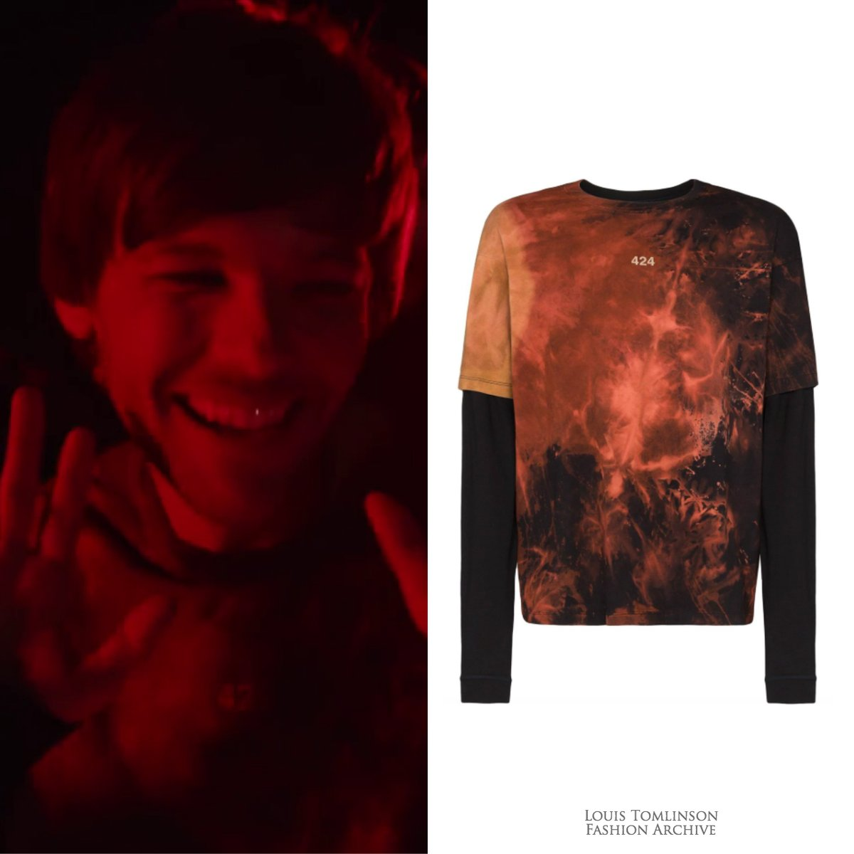 01/20/20 | Louis wore a 424 tie-dye layered-look t-shirt ($229) for the 'Walls' music video.   https:// shopstyle.it/l/bcSbv     <br>http://pic.twitter.com/ZiXPmmKY6R