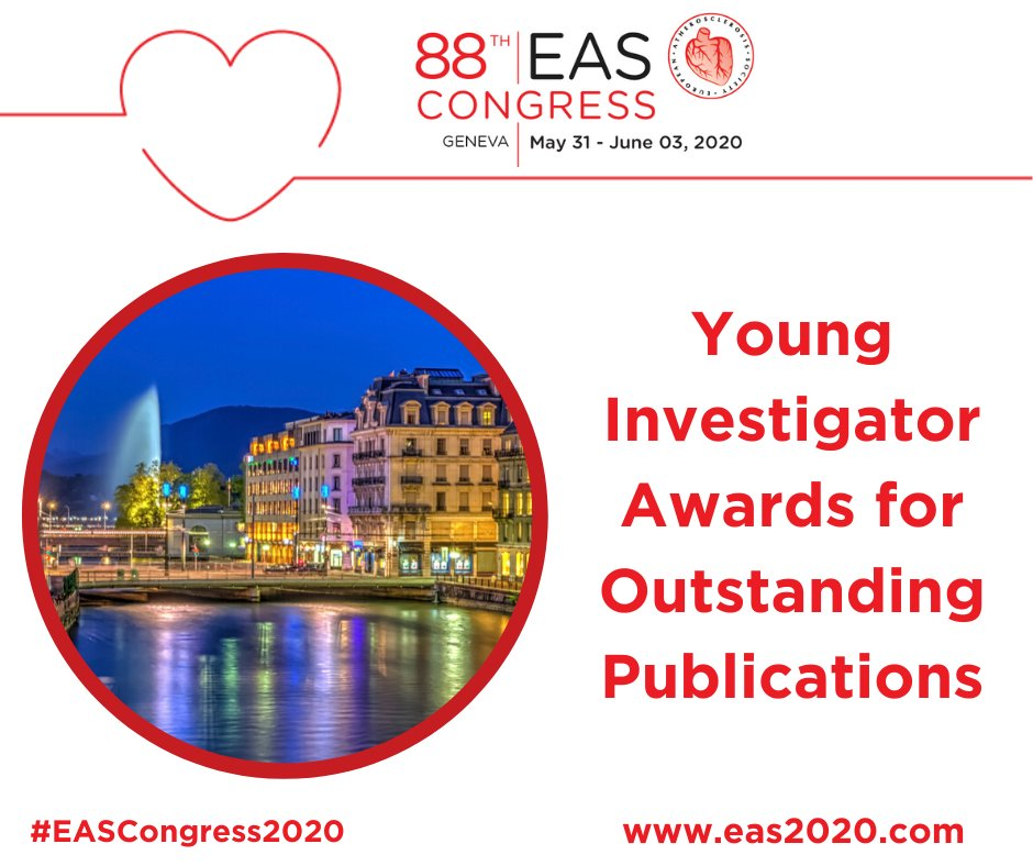 @society_eas Young Investigator Awards 👩‍💼👨‍💼 for outstanding publications ➡️ Open for nomination until 📆 February 3, 2020 📨📊 Nominate your candidate for best publication:   #EASCongress2020 #Atherosclerosis #cardiovascular #thrombosis #arteries #Geneve