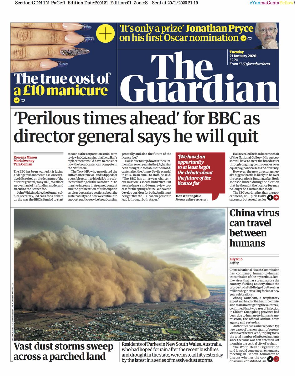 Guardian front page, Tuesday 21 January 2020: 'Perilous times ahead' for BBC as director general says he will quit