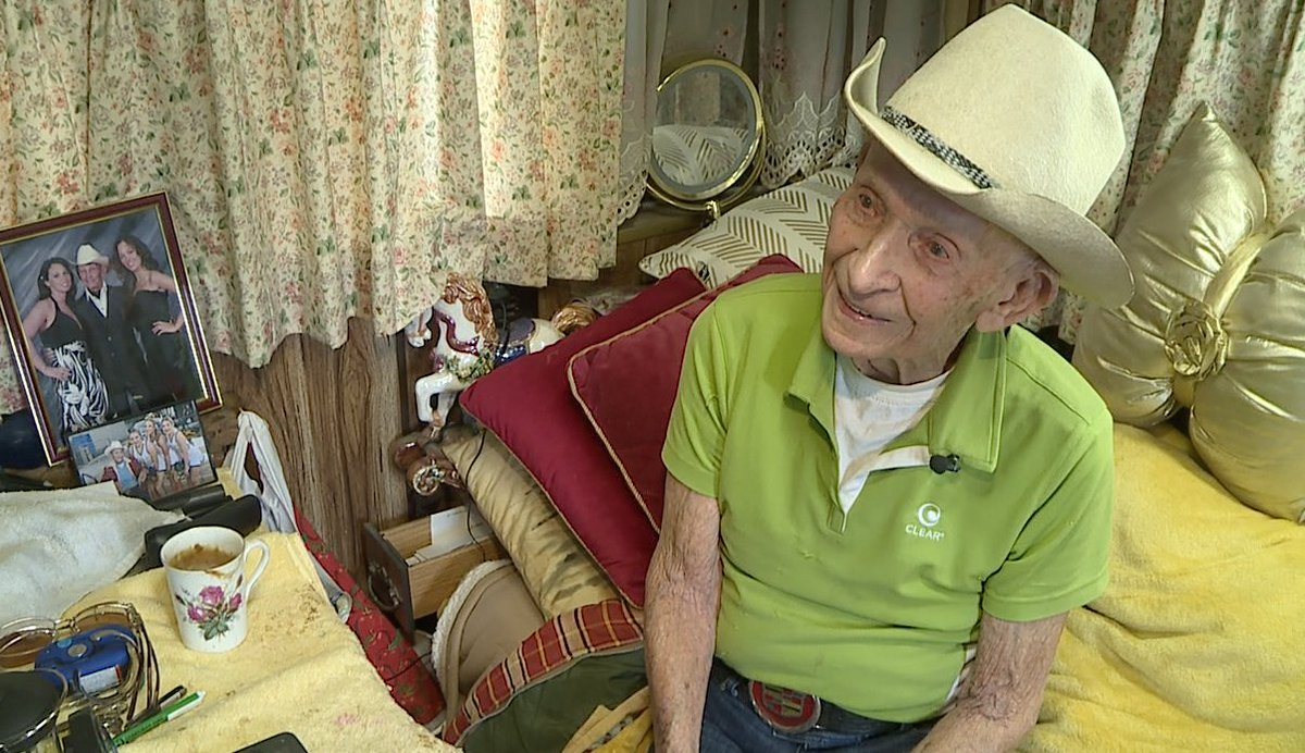 """""""When that car is gone part of me is gone. I just feel terrible,"""" 106-year-old Curly Bunfill said. The WWII veteran needs your help to find whoever stole his 1956 """"Bermuda Blue"""" Cadillac El Dorado out of his North Sacramento garage on Friday. @FOX40pic.twitter.com/4V7Z0FRKD0"""